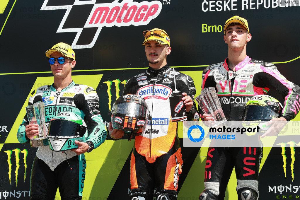 Race winner Aron Canet, Max Racing Team,second place Lorenzo Dalla Porta, Leopard Racing, third place Tony Arbolino, Team O