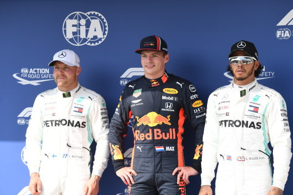Valtteri Bottas, Mercedes AMG F1, Pole Sitter Max Verstappen, Red Bull Racing and Lewis Hamilton, Mercedes AMG F1 in Parc Ferme