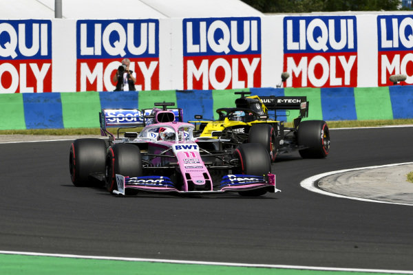 Sergio Perez, Racing Point RP19, leads Daniel Ricciardo, Renault R.S.19