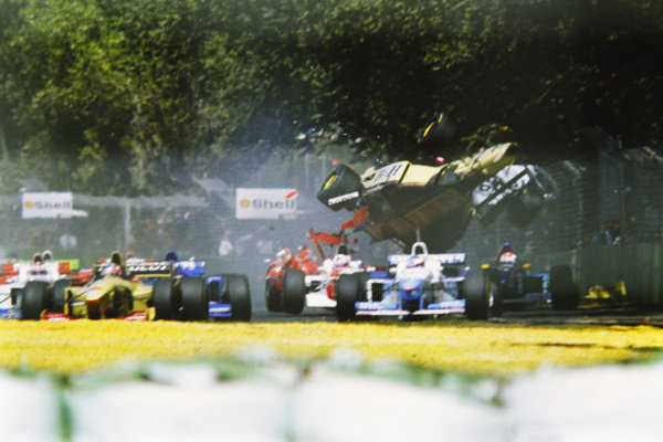 Martin Brundle (GBR) Jordan Peugeot, crashes on the opening lap of the Australian Grand Prix