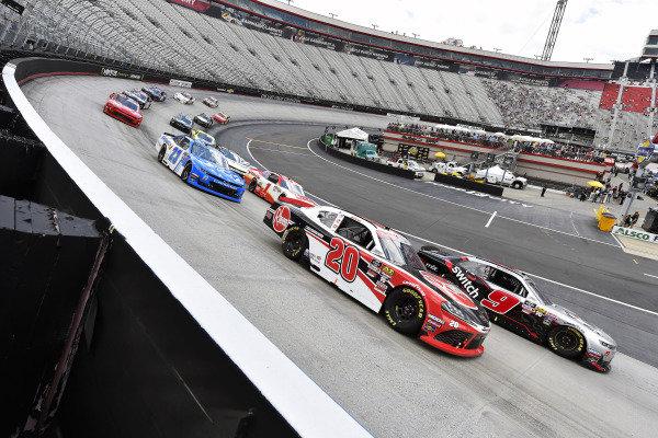 #20: Christopher Bell, Joe Gibbs Racing, Toyota Supra Rheem and #9: Noah Gragson, JR Motorsports, Chevrolet Camaro Switch