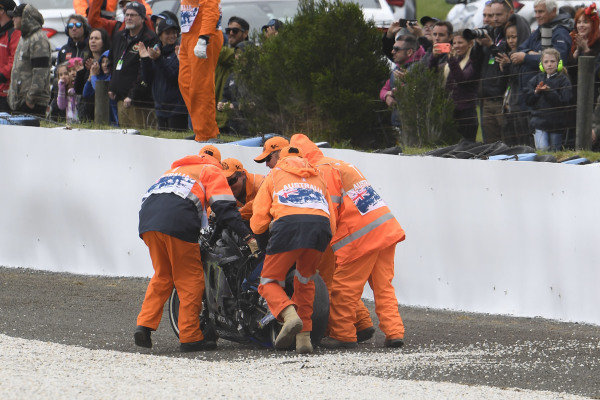 Maverick Vinales, Yamaha Factory Racing, bike after crash