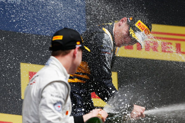 2015 GP2 Series Round 2. Circuit de Catalunya, Barcelona, Spain. Sunday 10 May 2015. Podium. Alex Lynn (GBR, DAMS) and Stoffel Vandoorne (BEL, ART Grand Prix). Photo: Zak Mauger/GP2 Series Media Service. ref: Digital Image _L0U5925