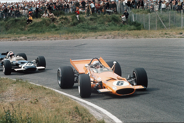 Zandvoort, Holland.19-21 June 1969.Bruce McLaren (McLaren M7C Ford) leads Jo Siffert (Lotus 49B Ford). Siffert finished in 2nd position.Ref-35mm 69 HOL 10.World Copyright - LAT Photographic