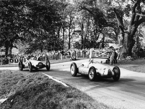 Donington Park, Great Britain.22 October 1938.Hermann Muller (Auto Union D-typ) leads Dick Seaman (Mercedes-Benz W154). They finished in 4th and 3rd positions respectively.Ref-Digital File Only.World Copyright - LAT Photographic