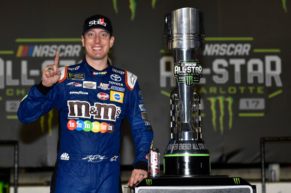 Monster Energy NASCAR Cup Series Monster Energy NASCAR All-Star Race Charlotte Motor Speedway, Concord, NC USA Saturday 20 May 2017 Kyle Busch, Joe Gibbs Racing, M&M's Caramel Toyota Camry celebrates his win in Victory Lane World Copyright: Nigel Kinrade LAT Images ref: Digital Image 17CLT1nk07360