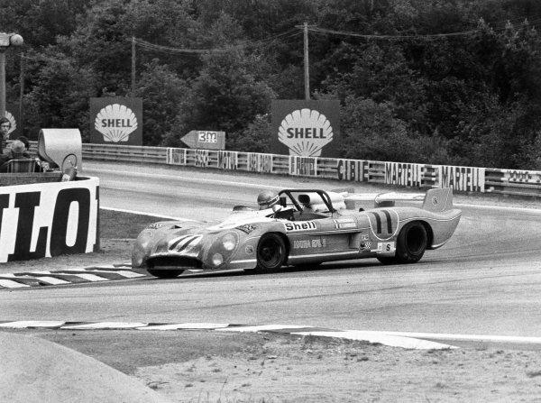 1973 Le Mans 24 hours.Le Mans, France. 9-10 June 1973.Gerard Larrousse (pictured)/Henri Pescarolo (Matra-Simca MS670B), 1st position.World Copyright: LAT PhotographicRef: black & white