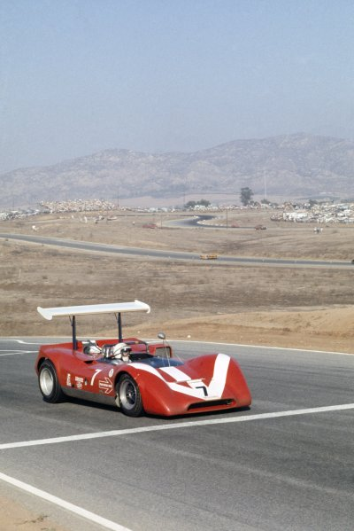 1968 Can-Am Challenge Cup.CanAm race. Riverside, California, United States (USA). 27 October 1968.John Surtees (Lola T160-Chevrolet), retired.World Copyright: LAT PhotographicRef: 35mm transparency 68CANAM07