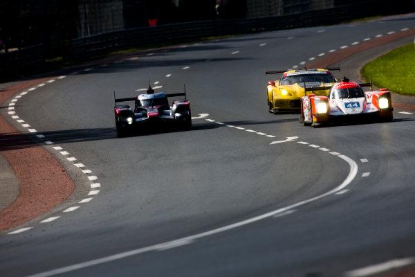 2016 Le Mans 24 Hours. Circuit de la Sarthe, Le Mans, France. Sunday 19 June 2016. Audi Sport Team Joest / Audi R18 - Lucas Di Grassi (BRA), Loic Duval (FRA), Oliver Jarvis (GBR), Manor / Oreca 05-Nissan - Tor Graves (GBR), Matthew Rao (GBR), Will Stevens (GBR), Corvette Racing - GM / Chevrolet Corvette C7.R - Jan Magnussen (DNK), Antonio Garcia (ESP), Ricky Taylor (USA).   World Copyright: Zak Mauger/LAT Photographic ref: Digital Image _79P8783