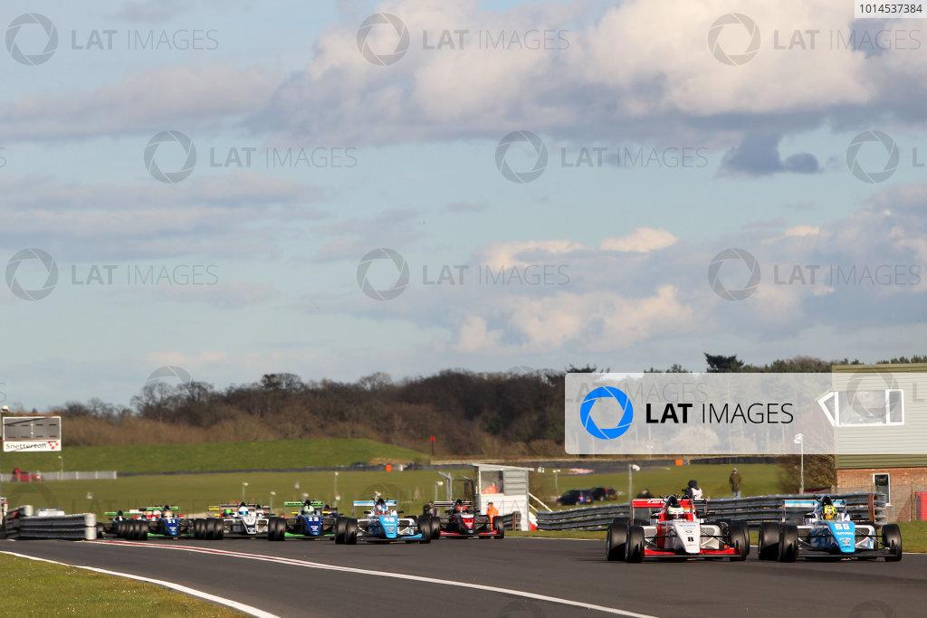 2016 BRDC British Formula 3 Championship, Snetterton, Norfolk. 27th - 28th March 2016. Start of Race 3 Enaam Ahmed (GBR) Douglas Motorsport BRDC F3 leads Toby Sowery (GBR) Lanan Racing BRDC F3.  World Copyright: Ebrey / LAT Photographic.