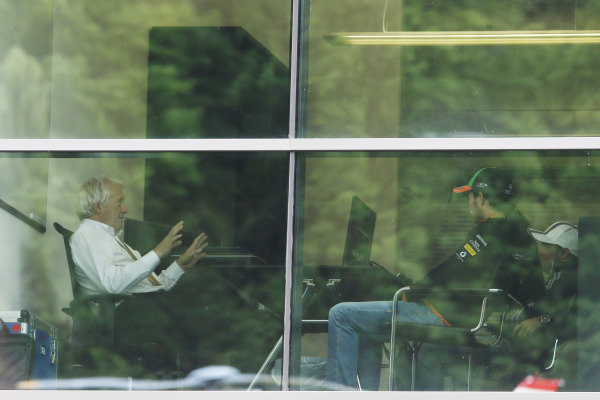 Red Bull Ring, Spielberg, Austria. Friday 20 June 2014. Sergio Perez, Force India, and Felipe Massa, Williams F1, meet with Charlie Whiting for a further discussion regarding their clash at the Canadian Grand Prix. World Copyright: Charles Coates/LAT Photographic. ref: Digital Image _N7T0479