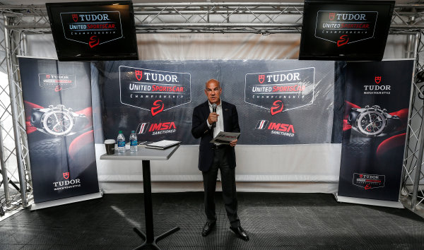 8-10 August 2014, Elkhart Lake, Wisconsin USA IMSA President and COO Scott Atherton announces the 2015 IMSA TUDOR United SportsCar Championship series and Continental Tire SportsCar Challenge schedules. ©2014, Michael L. Levitt LAT Photo USA