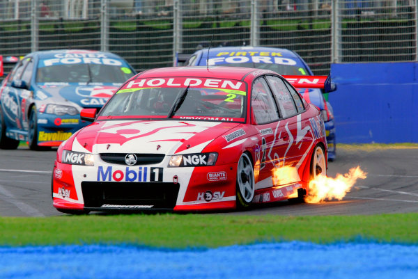 2005 Australian V8 SupercarsAlbert Park, Melbourne, Australia. 4th - 6th March.Mark Skaife, Holden spits fire from his exhaust. Action.World Copyright: Mark Horsburgh/LAT Photographicref: Digital Image Only