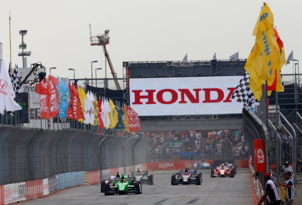 4-5 May, 2013, Sao Paulo, Brazil James Hinchcliffe takes the checkered flag and win © 2013, Michael L. Levitt LAT Photo USA