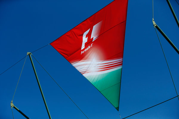 Hungaroring, Budapest, Hungary.  Saturday 29 July 2017. The Hungarian national colours on a flag in the paddock. World Copyright: Andy Hone/LAT Images  ref: Digital Image _ONY0667