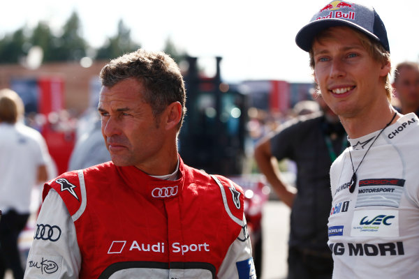 Red Bull Ring, Spielberg, Austria. Saturday 08 July 2017. Tom Kristensen and Brendon Hartley at the Legends Parade. World Copyright: Andy Hone/LAT Images ref: Digital Image _ONY1614