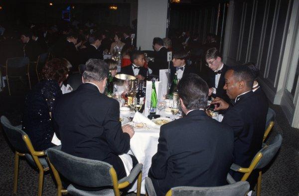 1996 Autosport Awards. Grosvenor House Hotel, London. 1st December 1996. Lewis Hamilton, Gary Paffett, Edward Redfern and Anthony Hamilton, portrait. World Copyright - LAT Photographic