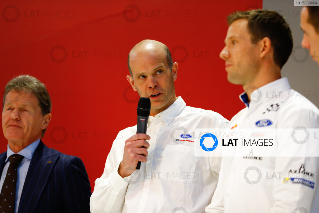 Autosport International Exhibition. National Exhibition Centre, Birmingham, UK. Thursday 11th January 2017. Malcolm Wilson and a representative from Ford talks to Henry Hope-Frost on the Autosport Stage. Sebastien Ogier looks on.World Copyright: Ashleigh Hartwell/LAT Images ref: Digital Image _R3I8029