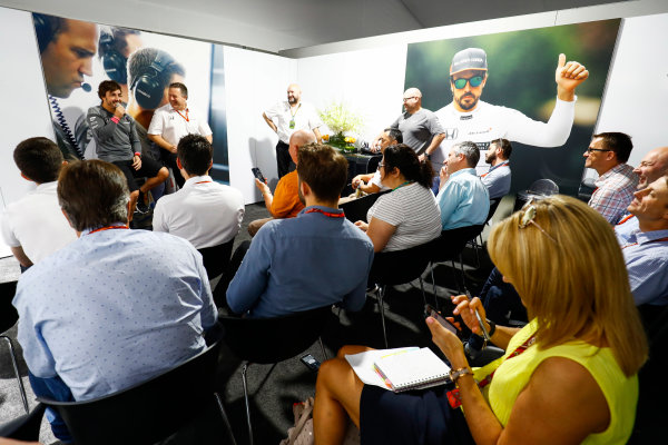 Circuit of the Americas, Austin, Texas, United States of America. Thursday 19 October 2017. Fernando Alonso, McLaren, and Zak Brown, Executive Director, McLaren Technology Group, hold a press conference. World Copyright: Steven Tee/LAT Images  ref: Digital Image _O3I1473