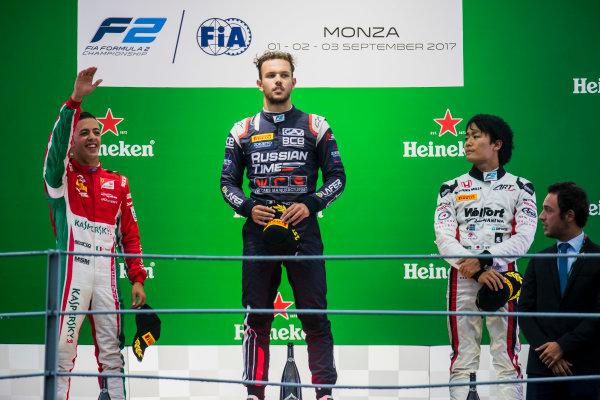 2017 FIA Formula 2 Round 9. Autodromo Nazionale di Monza, Monza, Italy. Saturday 2 September 2017. Antonio Fuoco (ITA, PREMA Racing), Luca Ghiotto (ITA, RUSSIAN TIME), Nobuharu Matsushita (JPN, ART Grand Prix).  Photo: Zak Mauger/FIA Formula 2. ref: Digital Image _T9I0778