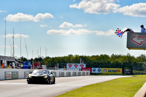 IMSA Continental Tire SportsCar Challenge Mobil 1 SportsCar Grand Prix Canadian Tire Motorsport Park Bowmanville, ON CAN Saturday 8 July 2017 57, Chevrolet, Chevrolet Camaro GT4.R, GS, Matt Bell, Robin Liddell, checkered flag, win, winner, finish line World Copyright: Scott R LePage/LAT Images