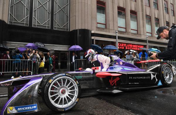 2016/2017 FIA Formula E Championship. Round 9 - New York City ePrix, Brooklyn, New York, USA. Friday 14 July 2017. Richard Branson poses for a photo from the cockpit of a DS Virgin Racing, Spark-Citroen, Virgin DSV-02. Photo: Sam Bagnall/LAT/Formula E ref: Digital Image DSC_0593
