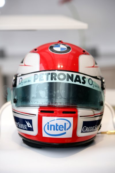 2006 Hungarian Grand Prix - Thursday PreviewHungaroring, Budapest, Hungary. 3rd - 6th August.The helmet of Robert Kubica, BMW Sauber F1 06.World Copyright: Charles Coates/LAT Photographicref: Digital Image ZK5Y2709