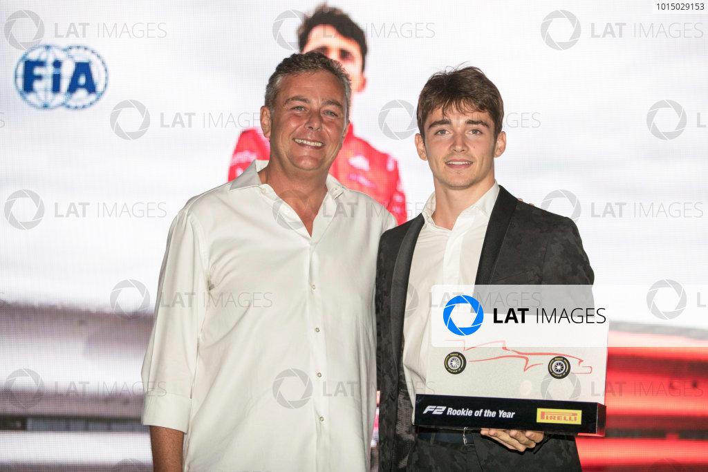 2017 Awards Evening. Yas Marina Circuit, Abu Dhabi, United Arab Emirates. Sunday 26 November 2017. Charles Leclerc (MCO, PREMA Racing).  Photo: Zak Mauger/FIA Formula 2/GP3 Series. ref: Digital Image _56I3817