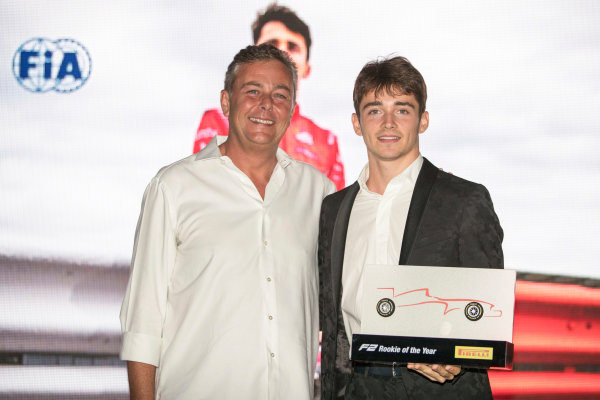 2017 Awards Evening. Yas Marina Circuit, Abu Dhabi, United Arab Emirates. Sunday 26 November 2017. Charles Leclerc (MCO, PREMA Racing).  Photo: Zak Mauger/FIA Formula 2/GP3 Series. ref: Digital Image _56I3817