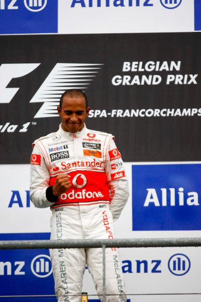 Spa-Francorchamps, Spa, Belgium 29th August 2010 Lewis Hamilton, McLaren MP4-25 Mercedes, 1st position, on the podium. Portrait. Podium.  World Copyright: Charles Coates/LAT Photographic ref: Digital Image _26Y6792