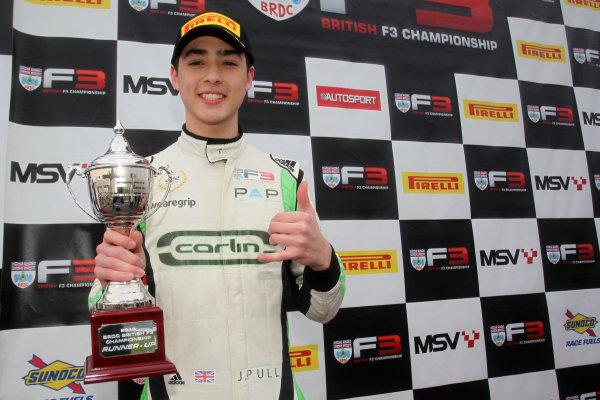 2017 BRDC British F3 Championship, Donington Park, Leicestershire. 23rd - 24th September 2017. James Pull (GBR) Carlin BRDC F3 World Copyright: JEP/LAT Images