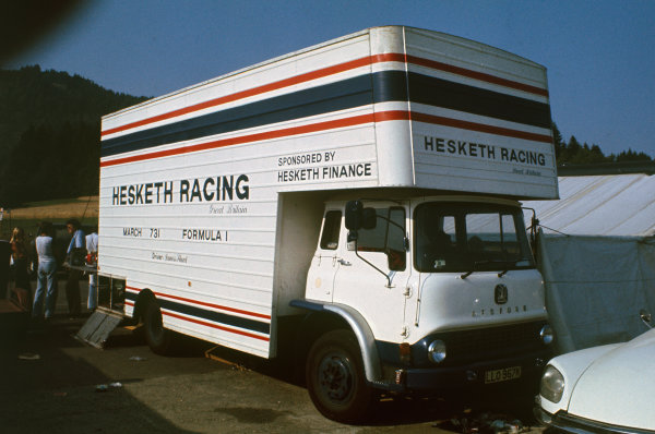 Osterreichring, Austria. 19 August 1973.Hesketh Racing team's truck in the paddock.World Copyright: LAT PhotographicRef: Colour Transparency.