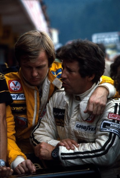 Mario Andretti(USA)right, and Ronnie Peterson(SWE) team mates at Lotus in 1978