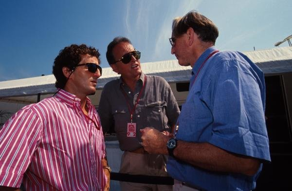 L to R; Alain Prost, Gerd Kremer of Mercedes and John Watson.