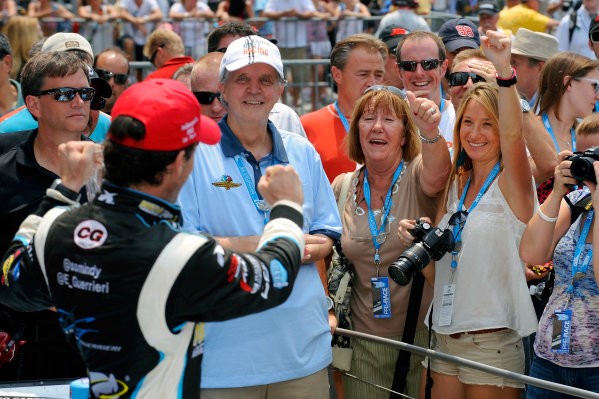 24-25 May, 2012, Indianapolis, Indiana, USAIndy Lights winner Estaban Guerrieri (#11) in Victory Lane waves to his mother and girlfriend.(c)2012, F. Peirce WilliamsLAT Photo USA
