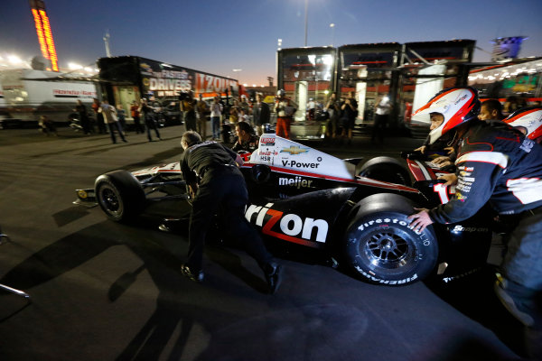 12-15  September 2012, Fontana, California, USAWill Power gets back into his car and is pushed from the garage after his team made a heroic repair after his crash(c) 2012, Michael L. LevittLAT Photo USA