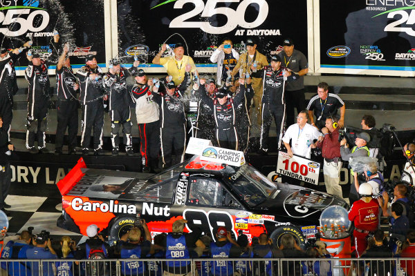 21-22 February, 2013, Daytona Beach, Florida USA Johnny Sauter celebrates in victory lane.(c)2013, Russell LaBounty LAT Photo USA .