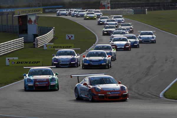 2015 Porsche Carrera Cup, Snetterton, Norfolk. 8th-9th August 2015, Start, Dan Cammish leads  World copyright.Jakob Ebrey/LAT Photographic