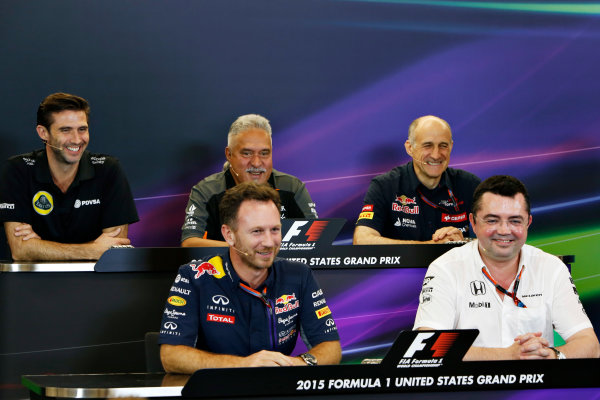 Circuit of the Americas, Austin, Texas, United States of America.  Friday 23 October 2015. Matthew Carter, CEO, Lotus F1 Team, Vijay Mallya, Team Principal and Managing Director, Force India, Franz Tost, Team Principal, Toro Rosso, Eric Boullier, Racing Director, McLaren, and Christian Horner, Team Principal, Red Bull Racing, in the Team Principal Press Conference. World Copyright: Andrew Ferraro/LAT Photographic ref: Digital Image _FER6335