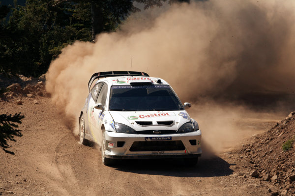 Markko Martin in action in the Ford Focus RS WRC03, Acropolis Rally 2003.Photo: McKlein/LAT