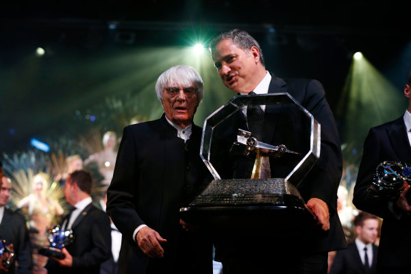 2015 FIA Prize Giving Paris, France Friday 4th December 2015 FOM trophies with Bernie Ecclestone, portrait  Photo: Copyright Free FOR EDITORIAL USE ONLY. Mandatory Credit: FIA / Jean Michel Le Meur  / DPPI ref: _G0_0072