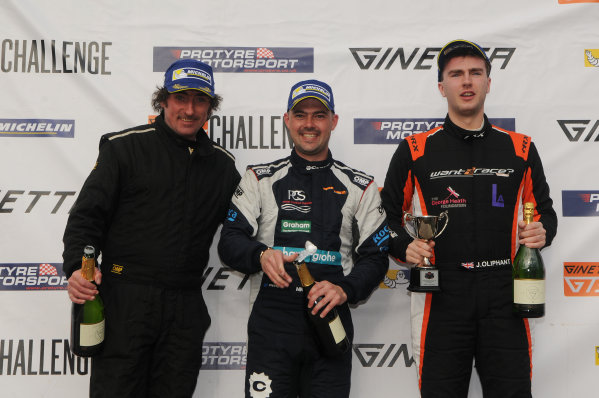 2017 Ginetta Racing Drivers Club + Oulton Park, Cheshire. 15th April 2017. Race 3 Podium (l-r) Rob Keogh Ginetta G40, Michael Crees Ginetta G40, Jack Oliphant Ginetta G40. World Copyright: JEP/LAT Images.