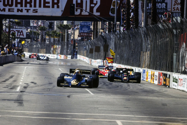 Jody Scheckter, Wolf WR1 Ford leads Mario Andretti, Lotus 78 Ford and Niki Lauda, Ferrari 312T2.