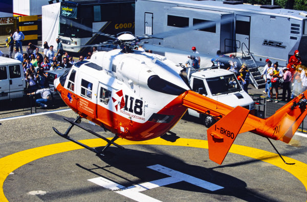 The medical helicopter carrying Roland Ratzenberger takes off.