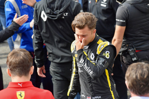 Max Fewtrell, (GBR) ART Grand Prix, cries leaving the grid after the memorial for Anthoine Hubert (FRA, BWT ARDEN)
