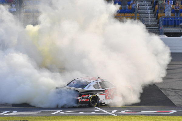 #20: Christopher Bell, Joe Gibbs Racing, Toyota Supra Ruud celebrates his win with a burnout