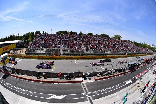 Daniil Kvyat, Toro Rosso STR14, Carlos Sainz Jr., McLaren MCL34, Alexander Albon, Toro Rosso STR14, Antonio Giovinazzi, Alfa Romeo Racing C38, Sergio Perez, Racing Point RP19, Romain Grosjean, Haas VF-19 and Lance Stroll, Racing Point RP19
