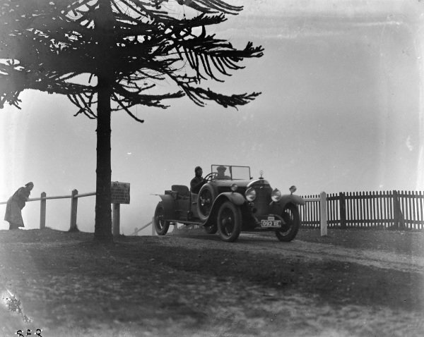 Mercedes on Brooklands test hill.