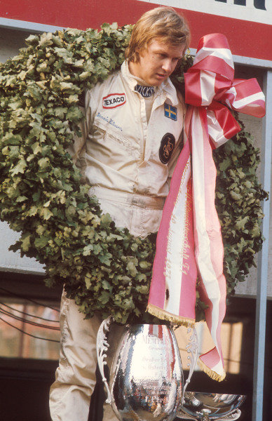 1973 Austrian Grand Prix.Osterreichring, Zeltweg, Austria.17-19 August 1973.Ronnie Peterson (Team Lotus) 1st position on the podium.Ref-73 AUT 04.World Copyright - LAT Photographic