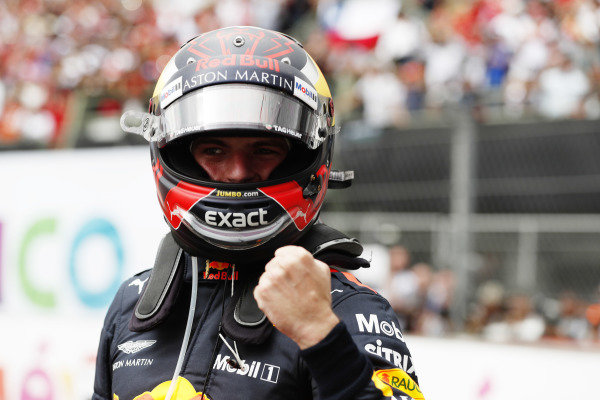 Max Verstappen, Red Bull Racing RB14, celebrates in parc ferme after winning the race